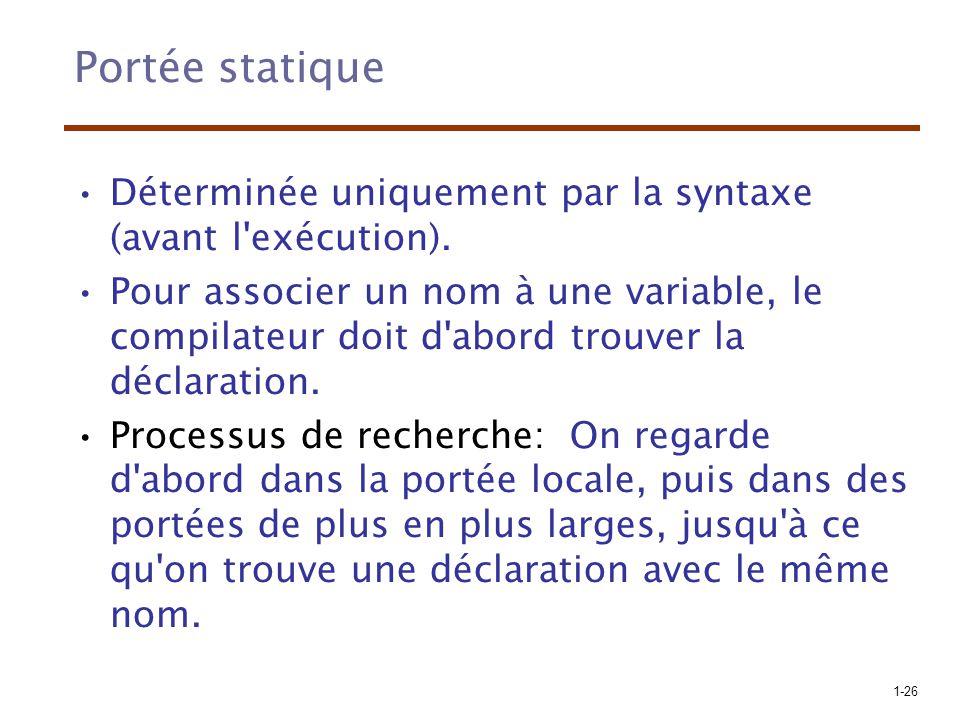 1-26 Portée statique Déterminée uniquement par la syntaxe (avant l'exécution). Pour associer un nom à une variable, le compilateur doit d'abord trouve
