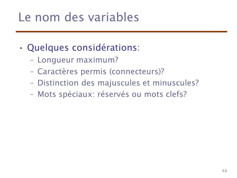 1-3 Le nom des variables Quelques considérations: –Longueur maximum? –Caractères permis (connecteurs)? –Distinction des majuscules et minuscules? –Mot