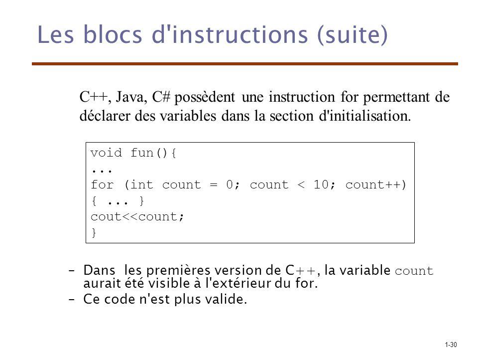 1-30 Les blocs d'instructions (suite) –Dans les premières version de C++, la variable count aurait été visible à l'extérieur du for. –Ce code n'est pl