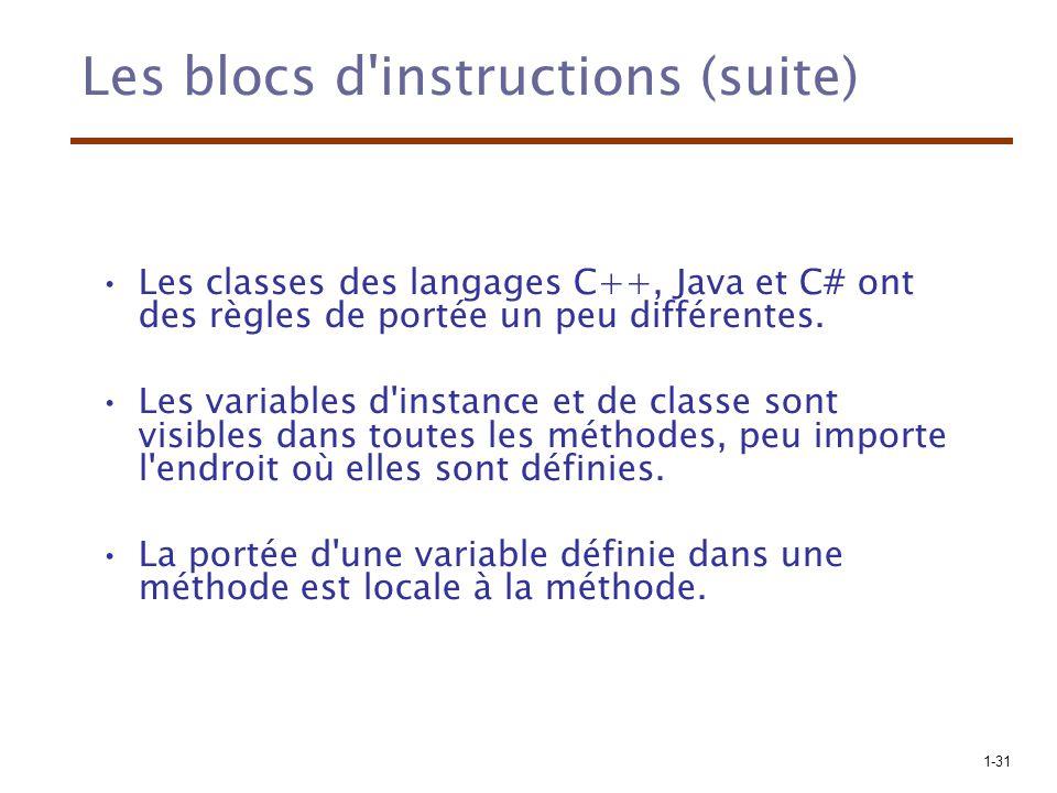 1-31 Les blocs d'instructions (suite) Les classes des langages C++, Java et C# ont des règles de portée un peu différentes. Les variables d'instance e