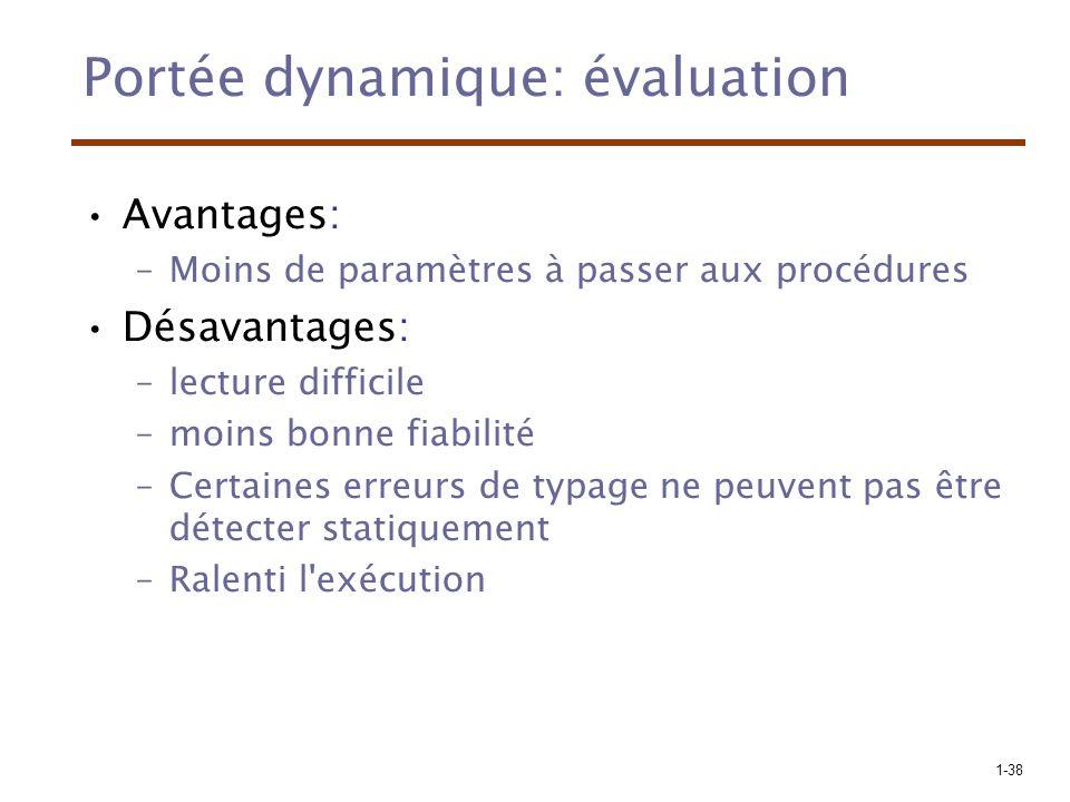 1-38 Portée dynamique: évaluation Avantages: –Moins de paramètres à passer aux procédures Désavantages: –lecture difficile –moins bonne fiabilité –Cer