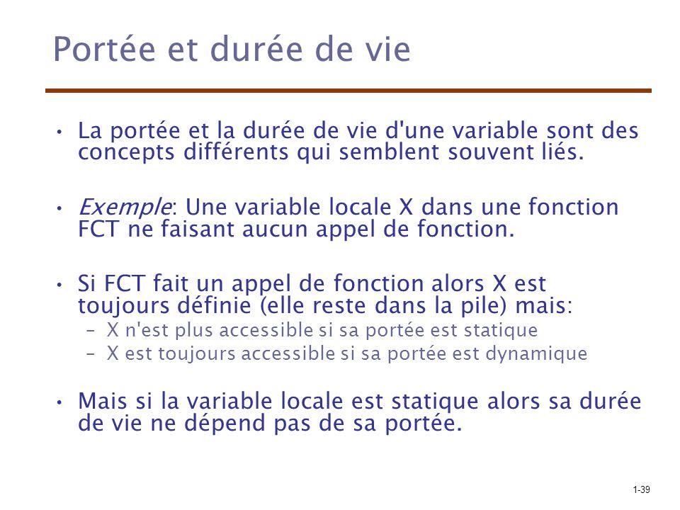 1-39 Portée et durée de vie La portée et la durée de vie d'une variable sont des concepts différents qui semblent souvent liés. Exemple: Une variable
