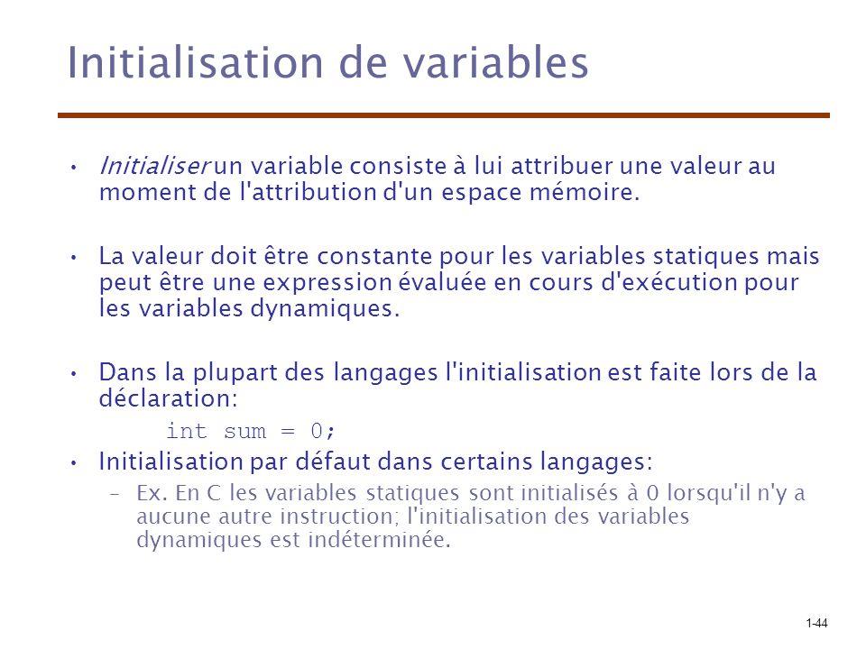 1-44 Initialisation de variables Initialiser un variable consiste à lui attribuer une valeur au moment de l attribution d un espace mémoire.