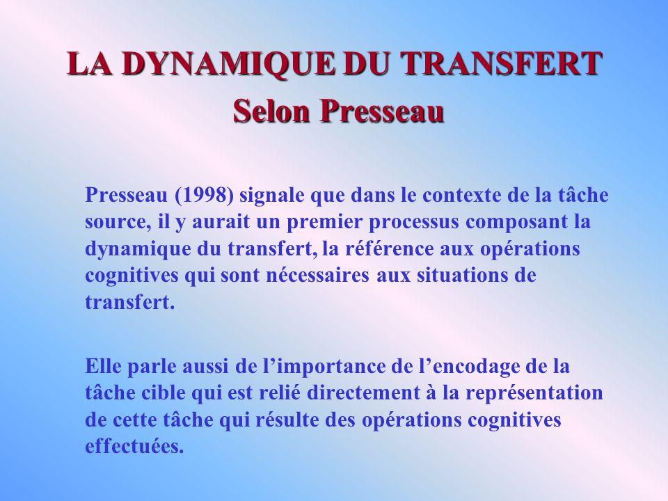 LA DYNAMIQUE DU TRANSFERT Selon Presseau Presseau (1998) signale que dans le contexte de la tâche source, il y aurait un premier processus composant la dynamique du transfert, la référence aux opérations cognitives qui sont nécessaires aux situations de transfert.