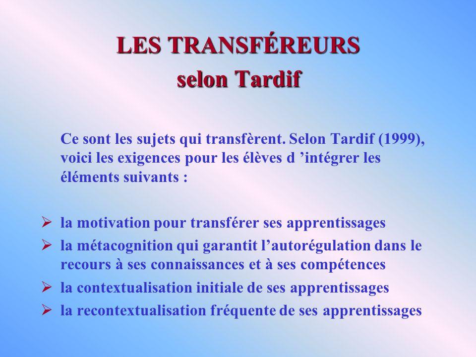 LES TRANSFÉREURS selon Tardif Ce sont les sujets qui transfèrent. Selon Tardif (1999), voici les exigences pour les élèves d intégrer les éléments sui
