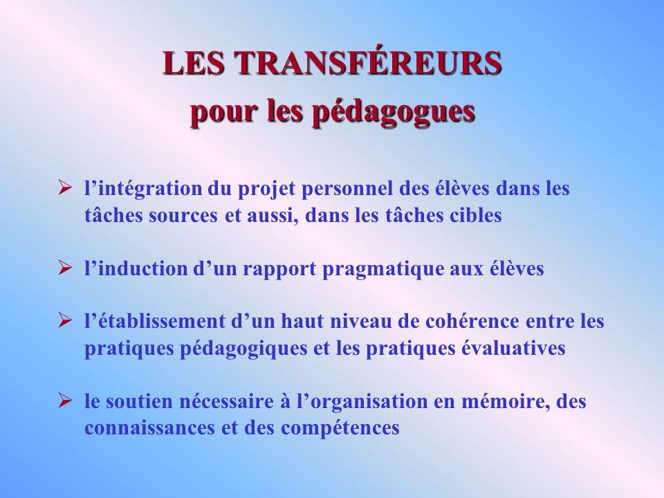 LES TRANSFÉREURS pour les pédagogues lintégration du projet personnel des élèves dans les tâches sources et aussi, dans les tâches cibles linduction d