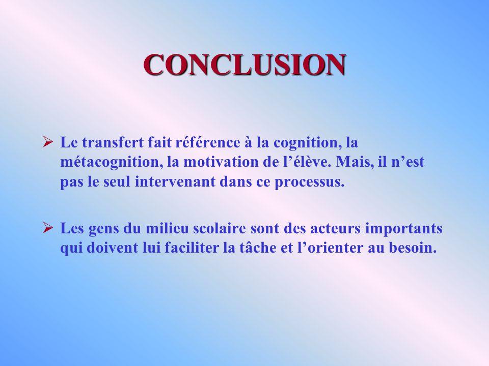 CONCLUSION Le transfert fait référence à la cognition, la métacognition, la motivation de lélève. Mais, il nest pas le seul intervenant dans ce proces