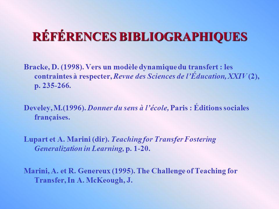 RÉFÉRENCES BIBLIOGRAPHIQUES Bracke, D. (1998). Vers un modèle dynamique du transfert : les contraintes à respecter, Revue des Sciences de lÉducation,