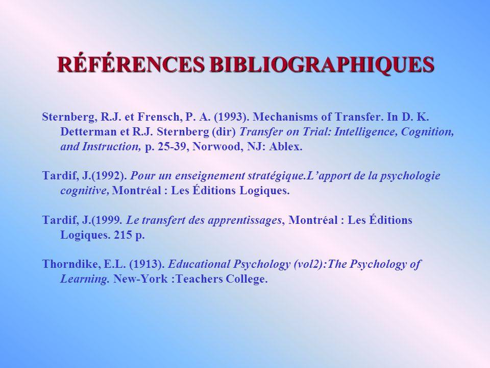 RÉFÉRENCES BIBLIOGRAPHIQUES Sternberg, R.J. et Frensch, P. A. (1993). Mechanisms of Transfer. In D. K. Detterman et R.J. Sternberg (dir) Transfer on T