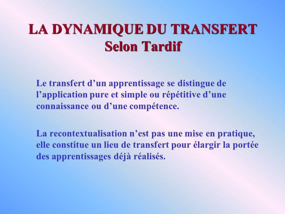 LA DYNAMIQUE DU TRANSFERT Selon Tardif Le transfert dun apprentissage se distingue de lapplication pure et simple ou répétitive dune connaissance ou dune compétence.