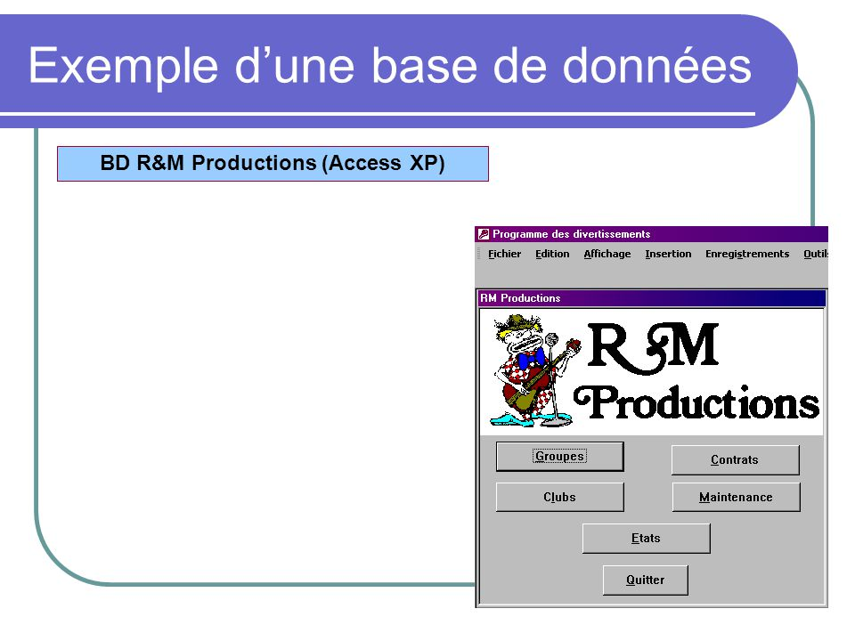 Exemple dune base de données BD R&M Productions (Access XP)