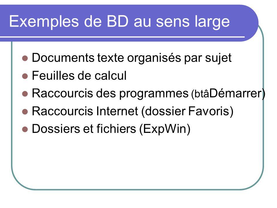 Exemples de BD au sens large Documents texte organisés par sujet Feuilles de calcul Raccourcis des programmes (btâ Démarrer) Raccourcis Internet (doss