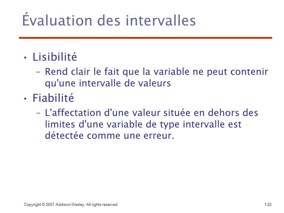 Copyright © 2007 Addison-Wesley. All rights reserved.1-22 Évaluation des intervalles Lisibilité –Rend clair le fait que la variable ne peut contenir q