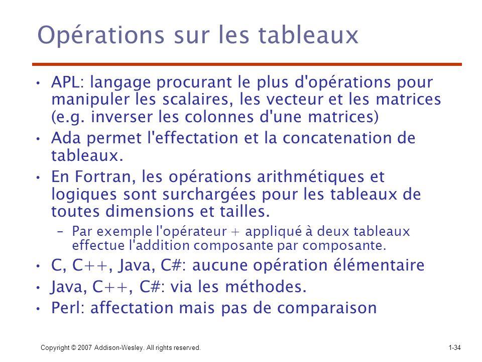Copyright © 2007 Addison-Wesley. All rights reserved.1-34 Opérations sur les tableaux APL: langage procurant le plus d'opérations pour manipuler les s
