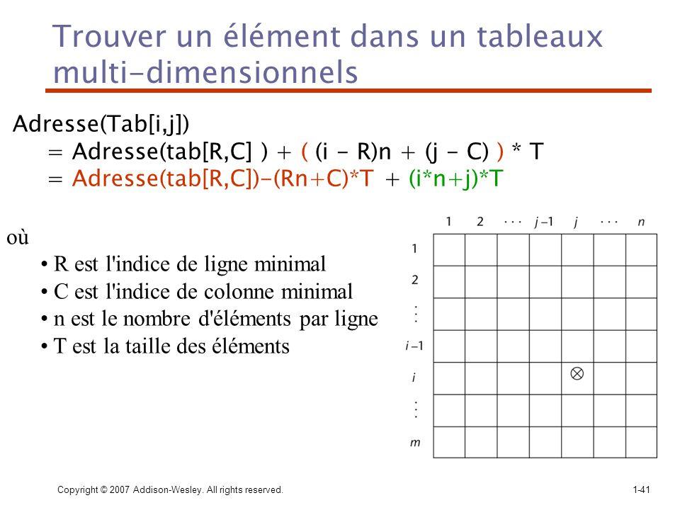 Copyright © 2007 Addison-Wesley. All rights reserved.1-41 Trouver un élément dans un tableaux multi-dimensionnels Adresse(Tab[i,j]) = Adresse(tab[R,C]
