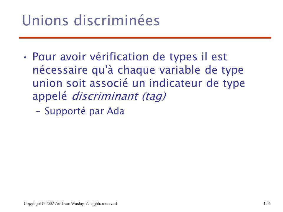 Copyright © 2007 Addison-Wesley. All rights reserved.1-54 Unions discriminées Pour avoir vérification de types il est nécessaire qu'à chaque variable