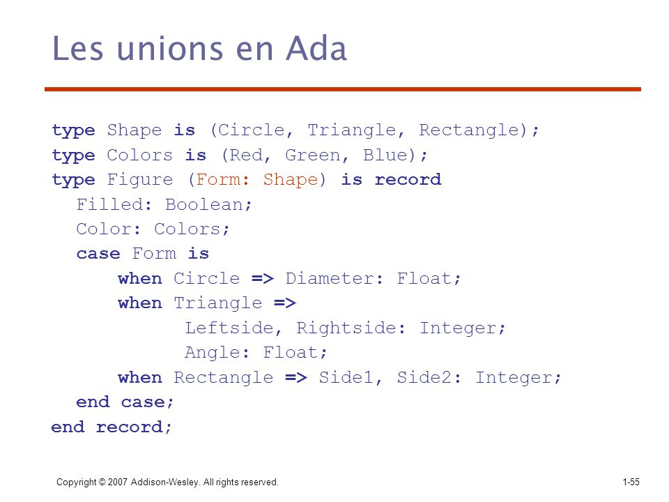 Copyright © 2007 Addison-Wesley. All rights reserved.1-55 Les unions en Ada type Shape is (Circle, Triangle, Rectangle); type Colors is (Red, Green, B