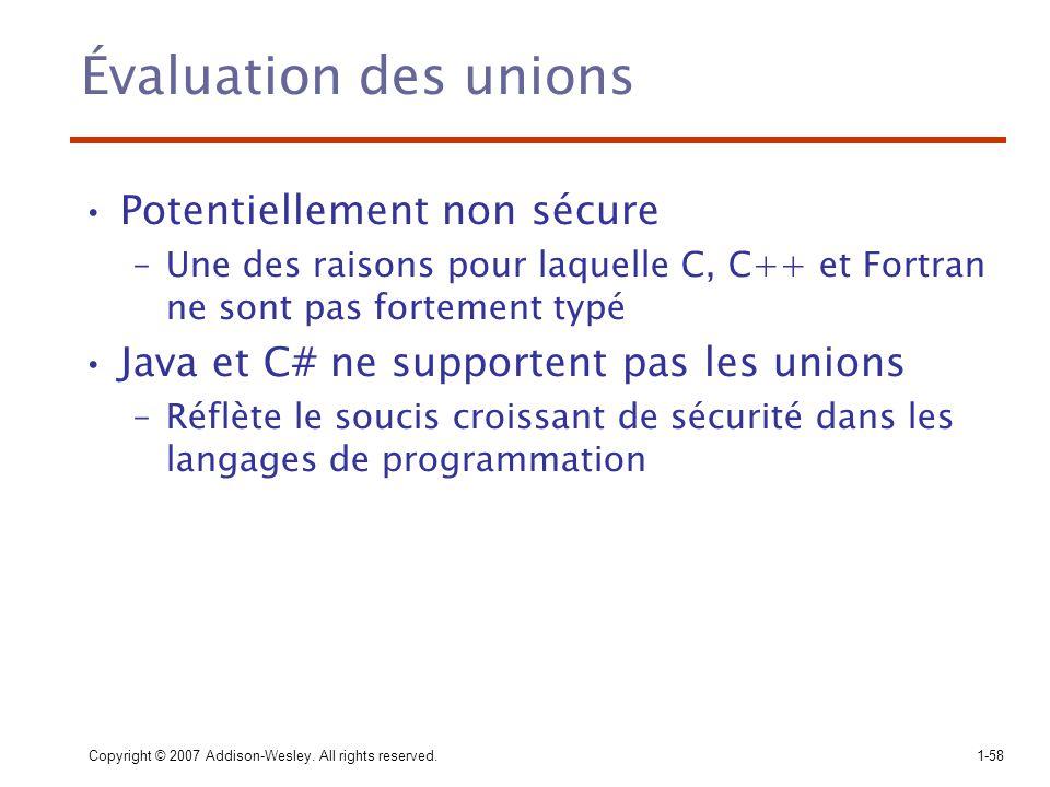 Copyright © 2007 Addison-Wesley. All rights reserved.1-58 Évaluation des unions Potentiellement non sécure –Une des raisons pour laquelle C, C++ et Fo