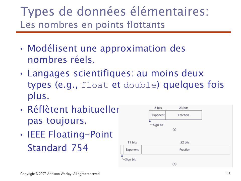 Copyright © 2007 Addison-Wesley. All rights reserved.1-6 Types de données élémentaires: Les nombres en points flottants Modélisent une approximation d