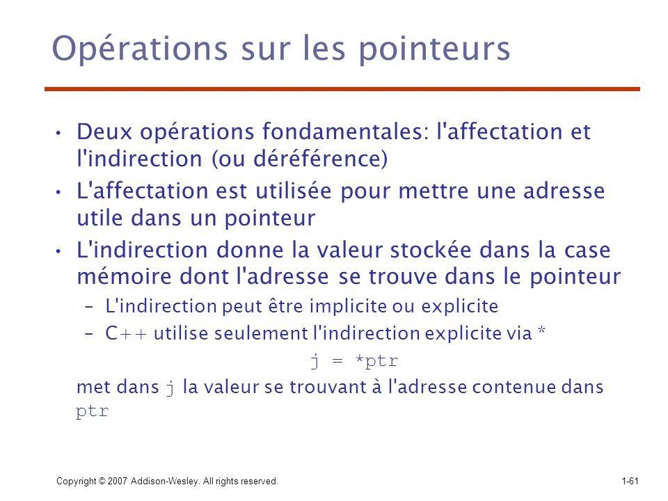 Copyright © 2007 Addison-Wesley. All rights reserved.1-61 Opérations sur les pointeurs Deux opérations fondamentales: l'affectation et l'indirection (