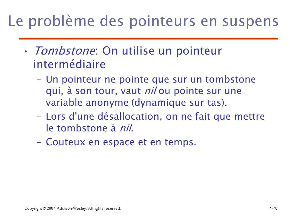 Copyright © 2007 Addison-Wesley. All rights reserved.1-70 Le problème des pointeurs en suspens Tombstone: On utilise un pointeur intermédiaire –Un poi