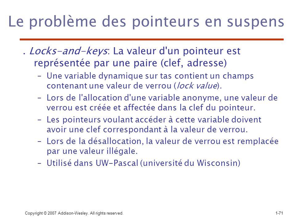 Copyright © 2007 Addison-Wesley. All rights reserved.1-71 Le problème des pointeurs en suspens. Locks-and-keys: La valeur d'un pointeur est représenté