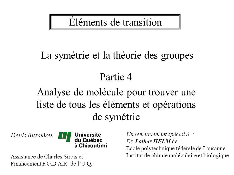Exemple 8 Liste des opérations de symétrie : E 12 C 5 12 C 5 2 20 C 3 15 C 2 i 12 S 10 12 S 10 3 20 S 6 15