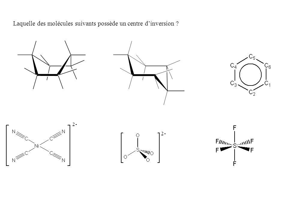 Laquelle des molécules suivants possède un centre dinversion ?