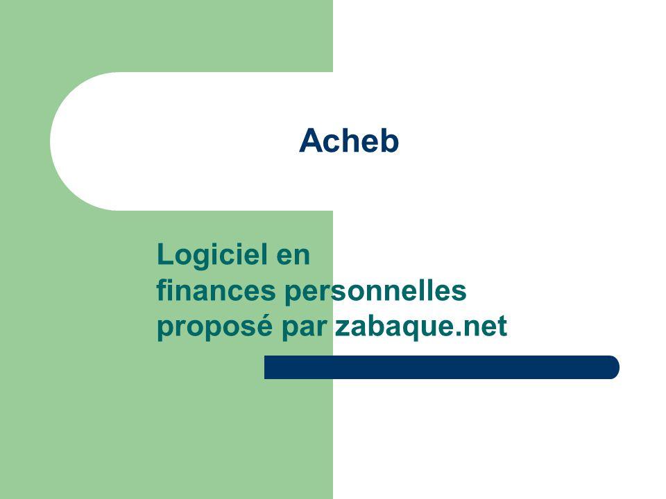 Acheb Logiciel en finances personnelles proposé par zabaque.net