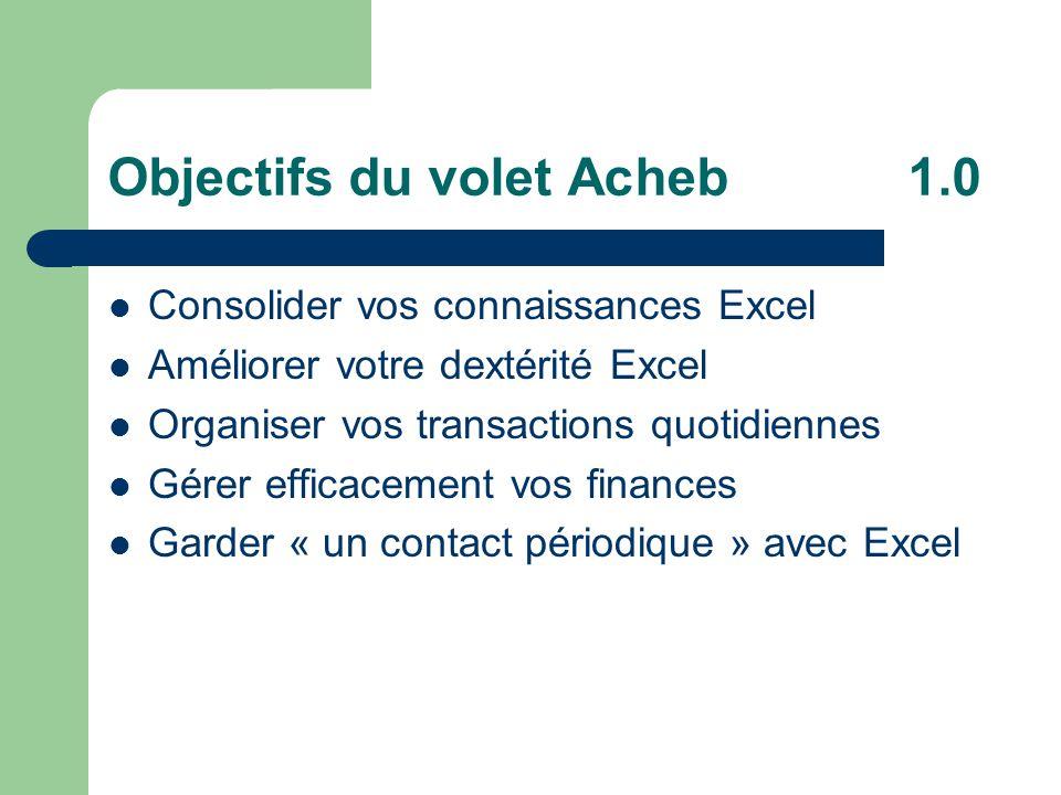 Objectifs du volet Acheb1.0 Consolider vos connaissances Excel Améliorer votre dextérité Excel Organiser vos transactions quotidiennes Gérer efficacement vos finances Garder « un contact périodique » avec Excel