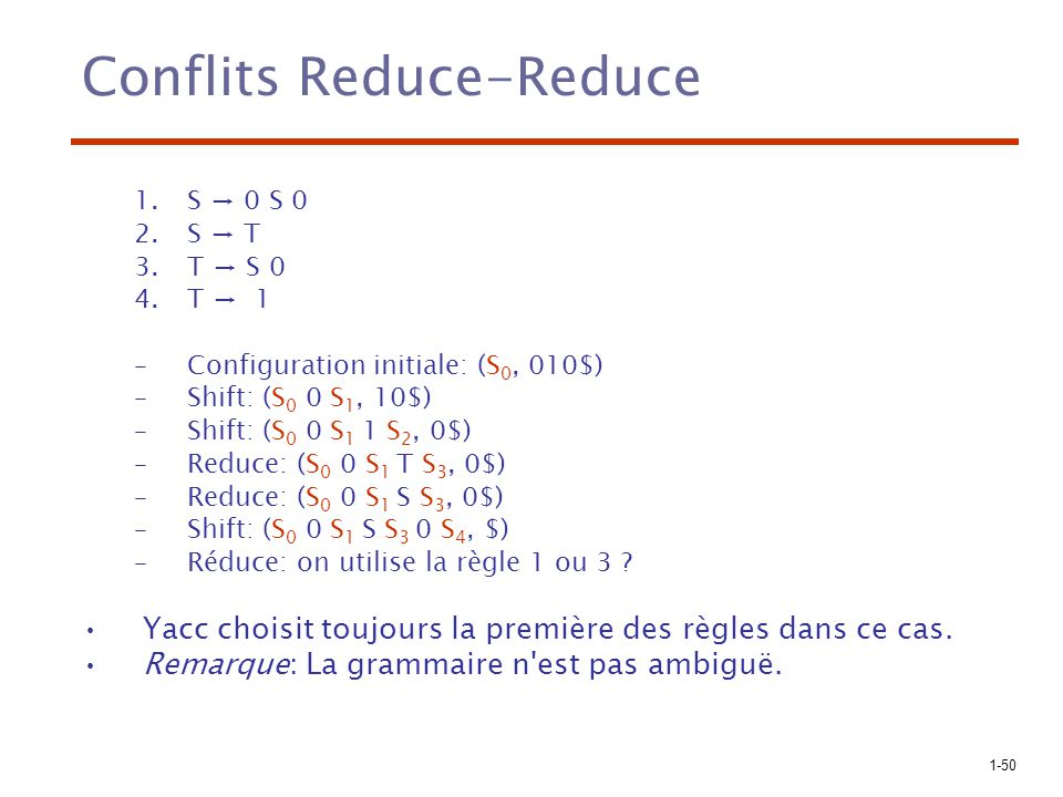 1-50 Conflits Reduce-Reduce 1.S 0 S 0 2.S T 3.T S 0 4.T 1 –Configuration initiale: (S 0, 010$) –Shift: (S 0 0 S 1, 10$) –Shift: (S 0 0 S 1 1 S 2, 0$)