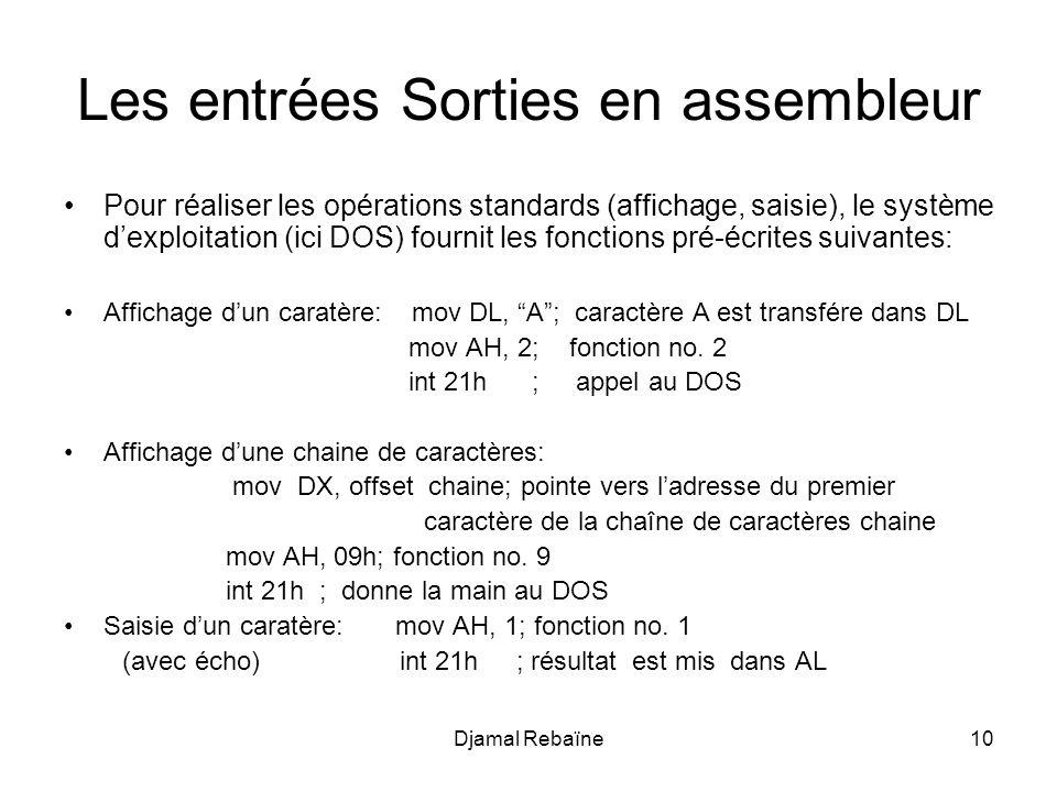 Djamal Rebaïne10 Les entrées Sorties en assembleur Pour réaliser les opérations standards (affichage, saisie), le système dexploitation (ici DOS) four