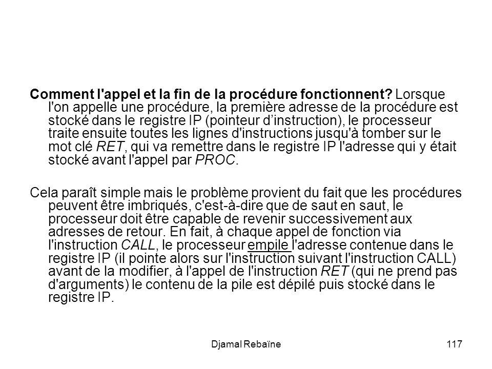 Djamal Rebaïne117 Comment l'appel et la fin de la procédure fonctionnent? Lorsque l'on appelle une procédure, la première adresse de la procédure est