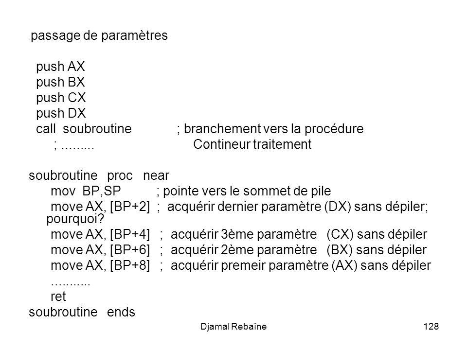Djamal Rebaïne128 ; passage de paramètres push AX push BX push CX push DX call soubroutine ; branchement vers la procédure ;......... Contineur traite