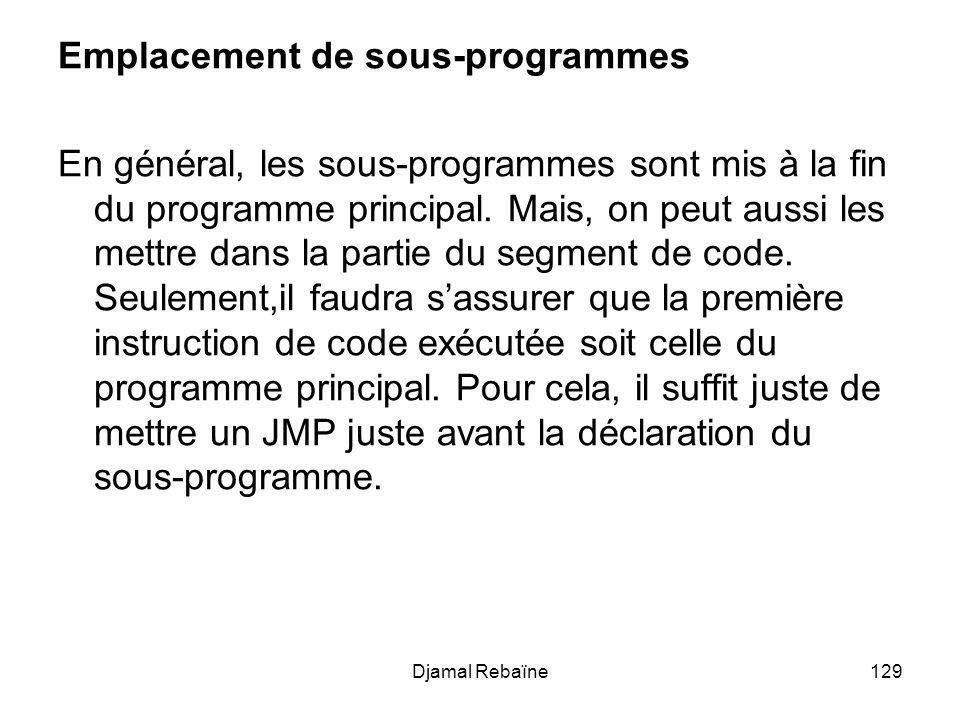 Djamal Rebaïne129 Emplacement de sous-programmes En général, les sous-programmes sont mis à la fin du programme principal. Mais, on peut aussi les met