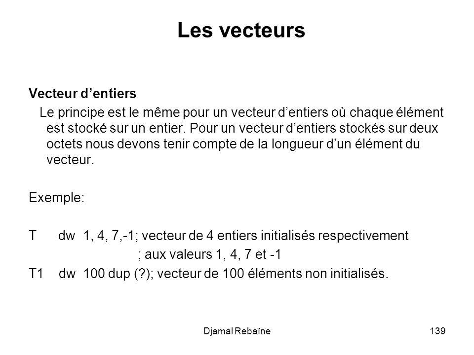 Djamal Rebaïne139 Les vecteurs Vecteur dentiers Le principe est le même pour un vecteur dentiers où chaque élément est stocké sur un entier. Pour un v