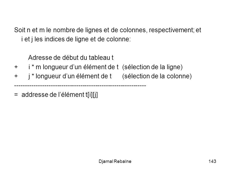 Djamal Rebaïne143 Soit n et m le nombre de lignes et de colonnes, respectivement; et i et j les indices de ligne et de colonne: Adresse de début du ta
