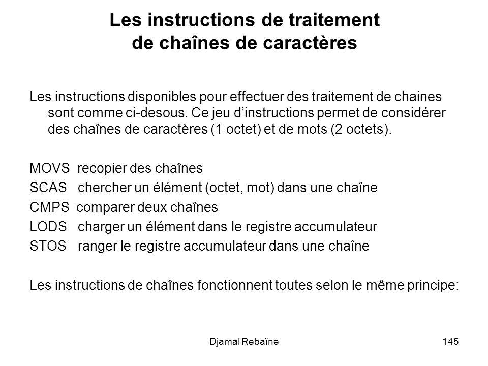 Djamal Rebaïne145 Les instructions de traitement de chaînes de caractères Les instructions disponibles pour effectuer des traitement de chaines sont c