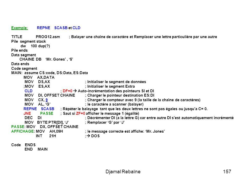 Djamal Rebaïne157 Exemple: REPNE SCASB et CLD TITLE PROG12.asm ; Balayer une chaîne de caractère et Remplacer une lettre particulière par une autre Pi
