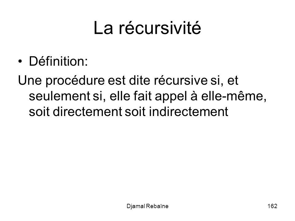 Djamal Rebaïne162 La récursivité Définition: Une procédure est dite récursive si, et seulement si, elle fait appel à elle-même, soit directement soit