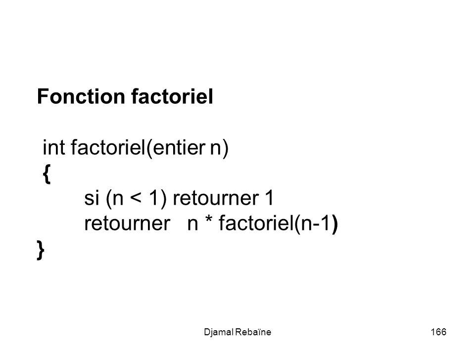 Djamal Rebaïne166 Fonction factoriel int factoriel(entier n) { si (n < 1) retourner 1 retourner n * factoriel(n-1) }