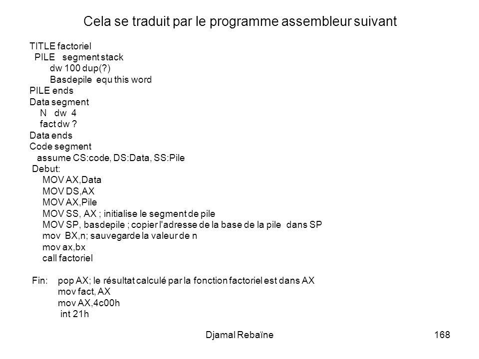 Djamal Rebaïne168 Cela se traduit par le programme assembleur suivant TITLE factoriel PILE segment stack dw 100 dup(?) Basdepile equ this word PILE en
