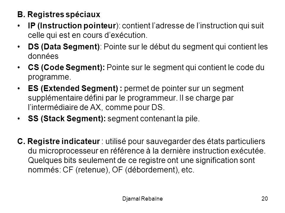 Djamal Rebaïne20 B. Registres spéciaux IP (Instruction pointeur): contient ladresse de linstruction qui suit celle qui est en cours dexécution. DS (Da