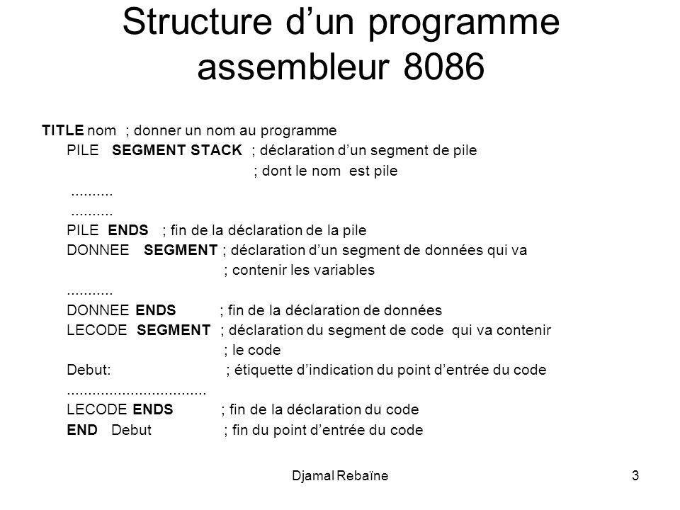 Djamal Rebaïne24 Quelques instructions de base-1 Affectations ; Registres <-- Valeurs MOV AX, 65535; (décimal) MOV Cl, 01101b; (binaire) MOV DH, 0FAh; (hexa) ; Entre registres MOV AX, BX MOV CL, DH ; Entre Registres et Variables MOV CX, variable_de_deux_octets MOV variable_de_un_octet, DL ;Registres <-- Adresses Mémoire Mov AX, Offset variable; AX <- adresse de variable Mov CX, [ 5Ah ]; CX <- valeur à l adresse 5A en hexa