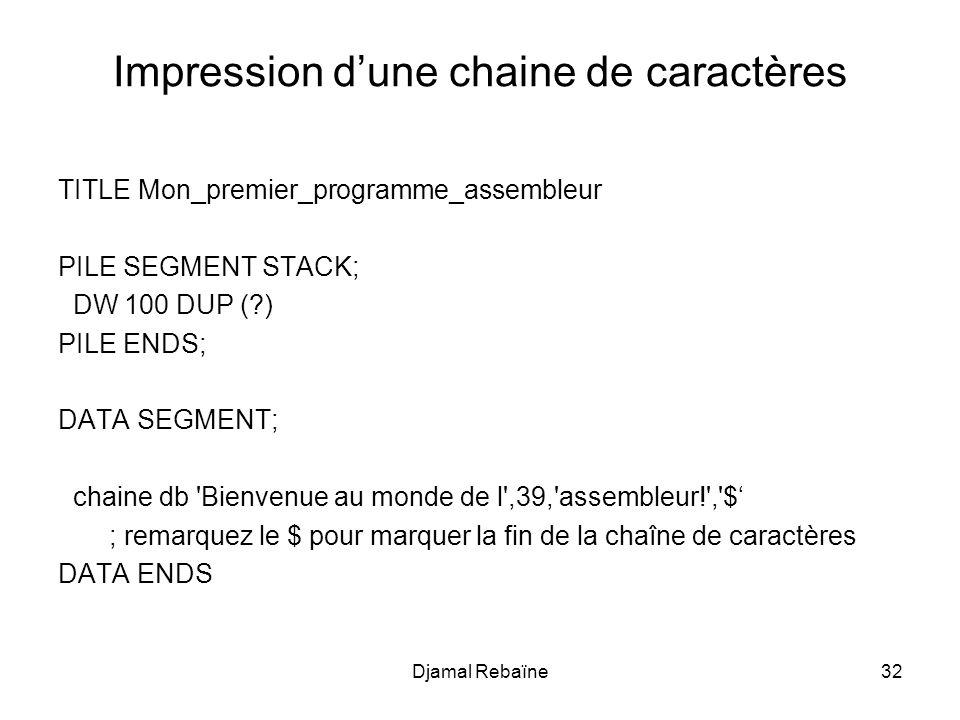 Impression dune chaine de caractères TITLE Mon_premier_programme_assembleur PILE SEGMENT STACK; DW 100 DUP (?) PILE ENDS; DATA SEGMENT; chaine db 'Bie