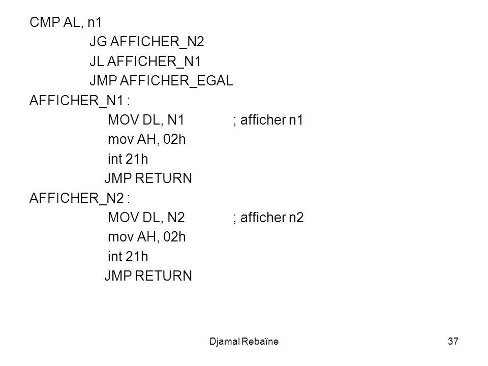 CMP AL, n1 JG AFFICHER_N2 JL AFFICHER_N1 JMP AFFICHER_EGAL AFFICHER_N1 : MOV DL, N1 ; afficher n1 mov AH, 02h int 21h JMP RETURN AFFICHER_N2 : MOV DL,