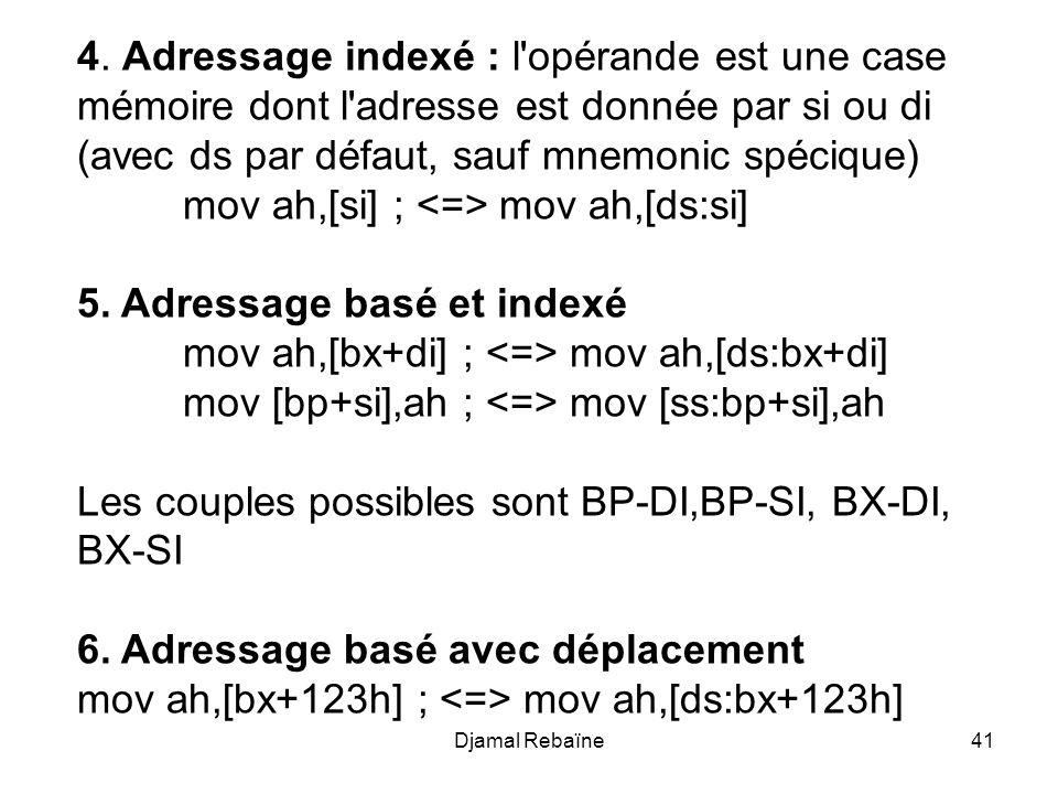 Djamal Rebaïne41 4. Adressage indexé : l'opérande est une case mémoire dont l'adresse est donnée par si ou di (avec ds par défaut, sauf mnemonic spéci