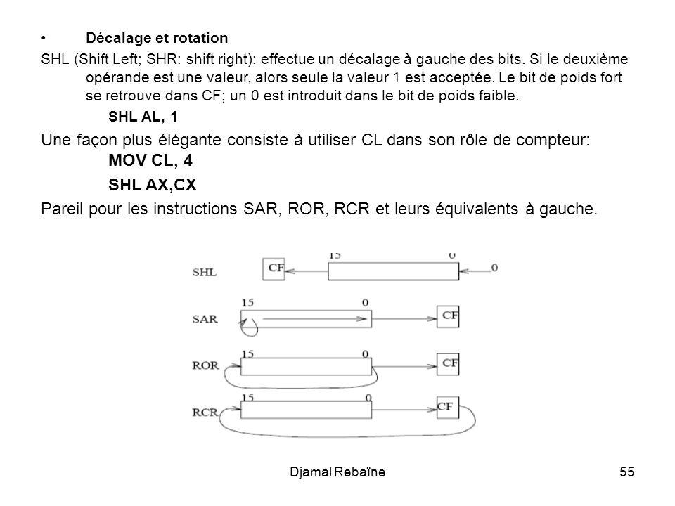 Djamal Rebaïne55 Décalage et rotation SHL (Shift Left; SHR: shift right): effectue un décalage à gauche des bits. Si le deuxième opérande est une vale