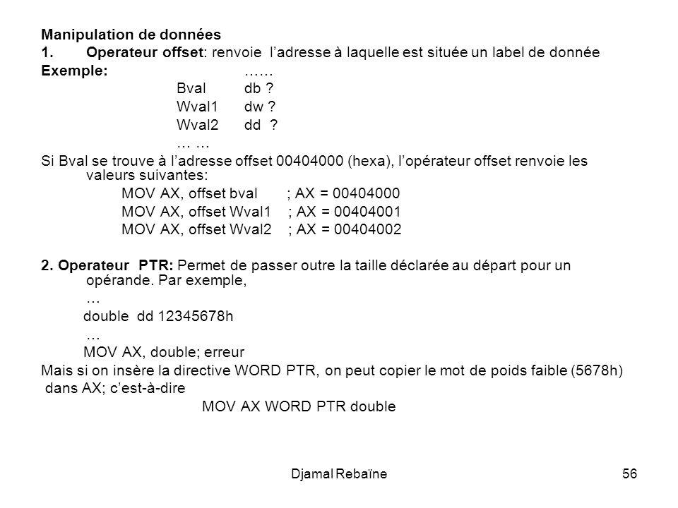 Djamal Rebaïne56 Manipulation de données 1.Operateur offset: renvoie ladresse à laquelle est située un label de donnée Exemple: …… Bvaldb ? Wval1dw ?