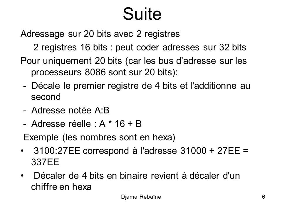 Djamal Rebaïne77 TITLE prog8.asm ; Conversion MINUSCULE MAJUSCULE dun texte PILESEGMENT STACK DW 100 DUP (?) PILE ENDS DATA SEGMENT TEXTE1DBmOn Nom eST REBainE, 13,10, $ TEXTE2 DB21 DUP(?) ;------------------------------------------------------------------------------------------------------------------------------------------------------------ CODE SEGMENT ASSUME CS:SCODE, DS:DATA ; Initialiser le registre DS MOV AX, DATA MOV DS, AX MAIN : MOVSI, OFFSET TEXTE1 ; SI pointe sur le texte original MOVBX, OFFSET TEXTE2; BX pointe sur le texte en MAJUSCULE MOV CX, 21; compteur de boucle ARRIERE:MOV AL, byte ptr t[SI]; prochain caractère CMPAL, 61H; Si < a (61H est le code ASCII de a) JBPASSE; donc pas besoin de convertir CMPAL, 7AH; Si > z (7AH est le code ASCII de z) JAPASSE; donc pas besoin de convertir ANDAL, 11011111B; masque le bit 5 pour convertir en MAJUSCULE PASSE:MOV [BX], AL ; sauvegarde le caractère MAJUSCULE INCSI; incrémente le pointeur vers le texte original INCBX; incrémente le pointeur vers le texte en MAJUSCULE LOOP ARRIERE ; Continuer à boucler tant que CX > 0 ;------------------------------------------------------------------------------------------------------------------------------------------------------------ MOV AX, 4C00h INT 21h CODE ENDS ENDMAIN